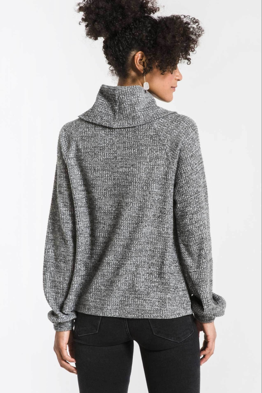 Zsupply The Waffle Thermal Cowl Neck Pullover - Front Full Image