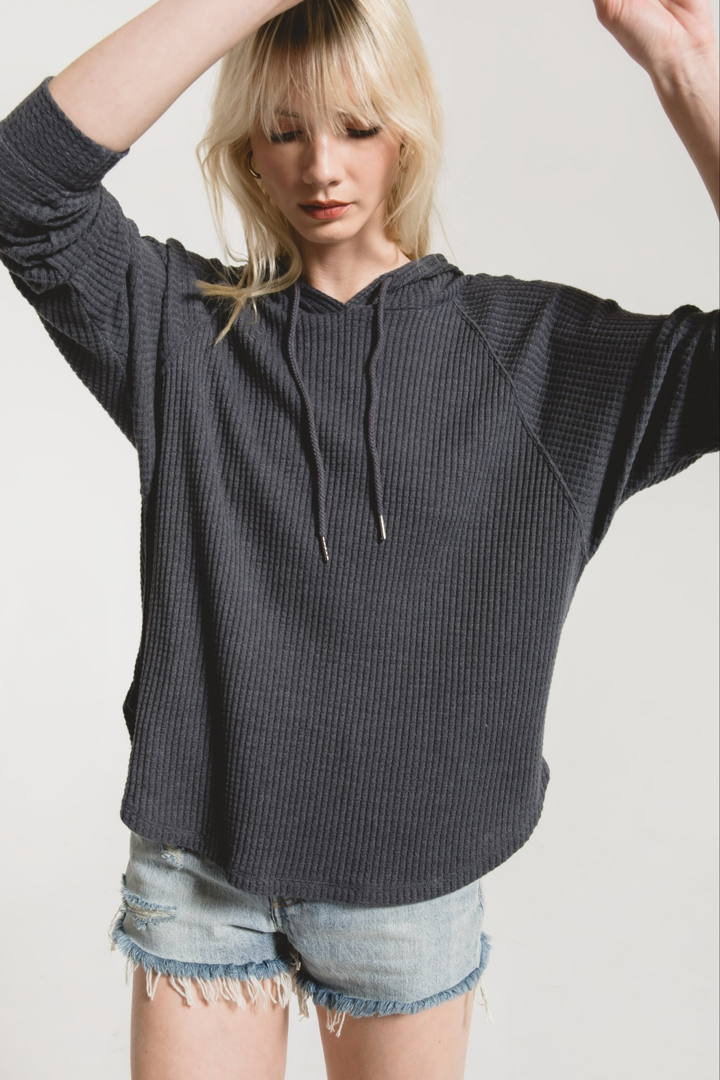 z supply The Waffle Thermal Dolman Hoodie - Main Image