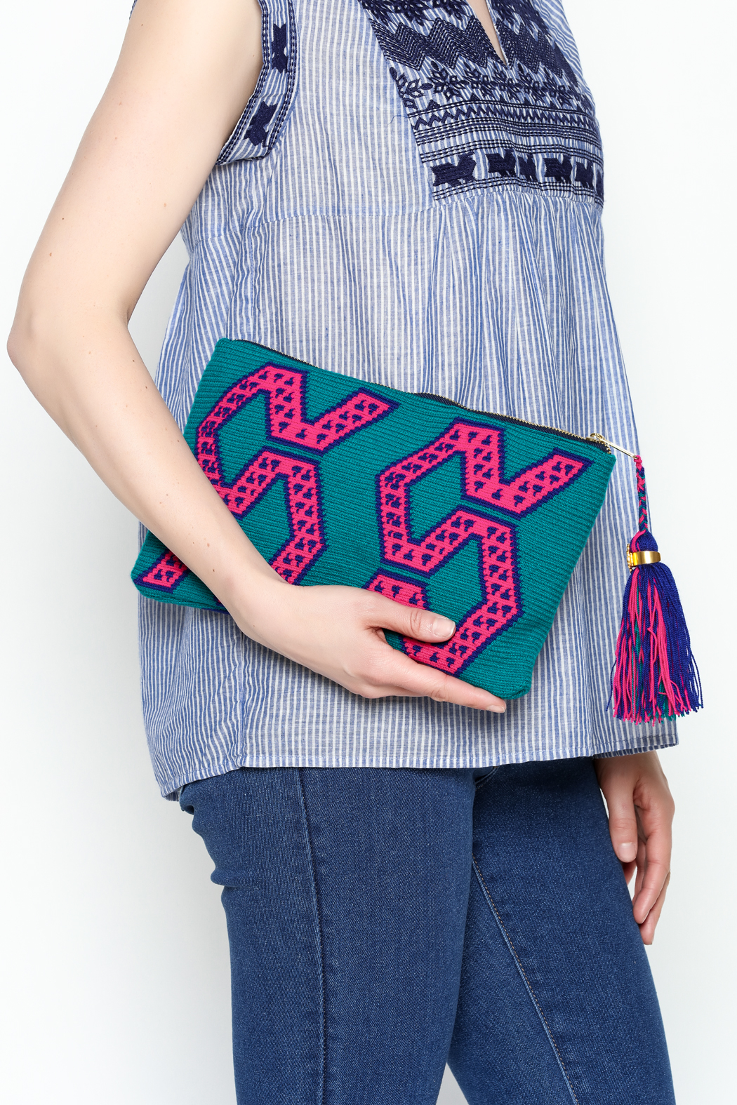 the way u Turquois Aztec Clutch - Front Full Image