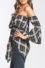 The Butik Off-Shoulder Plaid Top - Product Mini Image