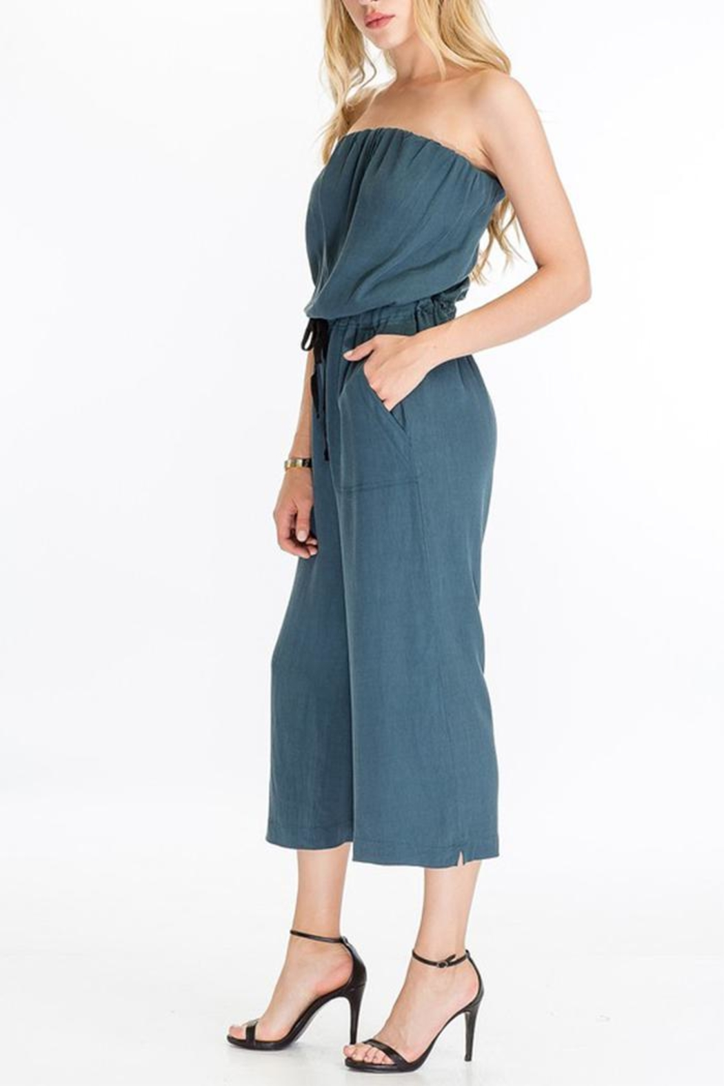The Butik Strapless Culotte Jumpsuit - Front Full Image