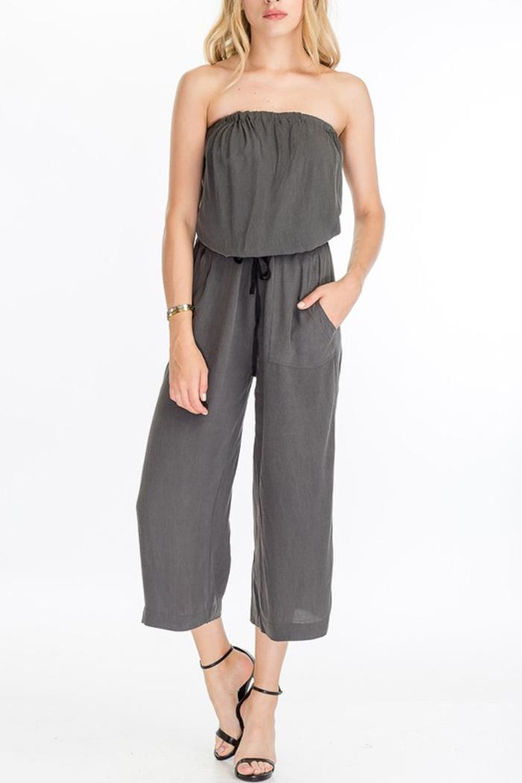 The Butik Strapless Culotte Jumpsuit - Front Cropped Image