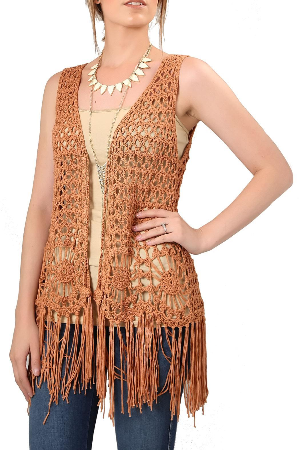 The Closet Crochet Fringe Vest From Montana Shoptiques