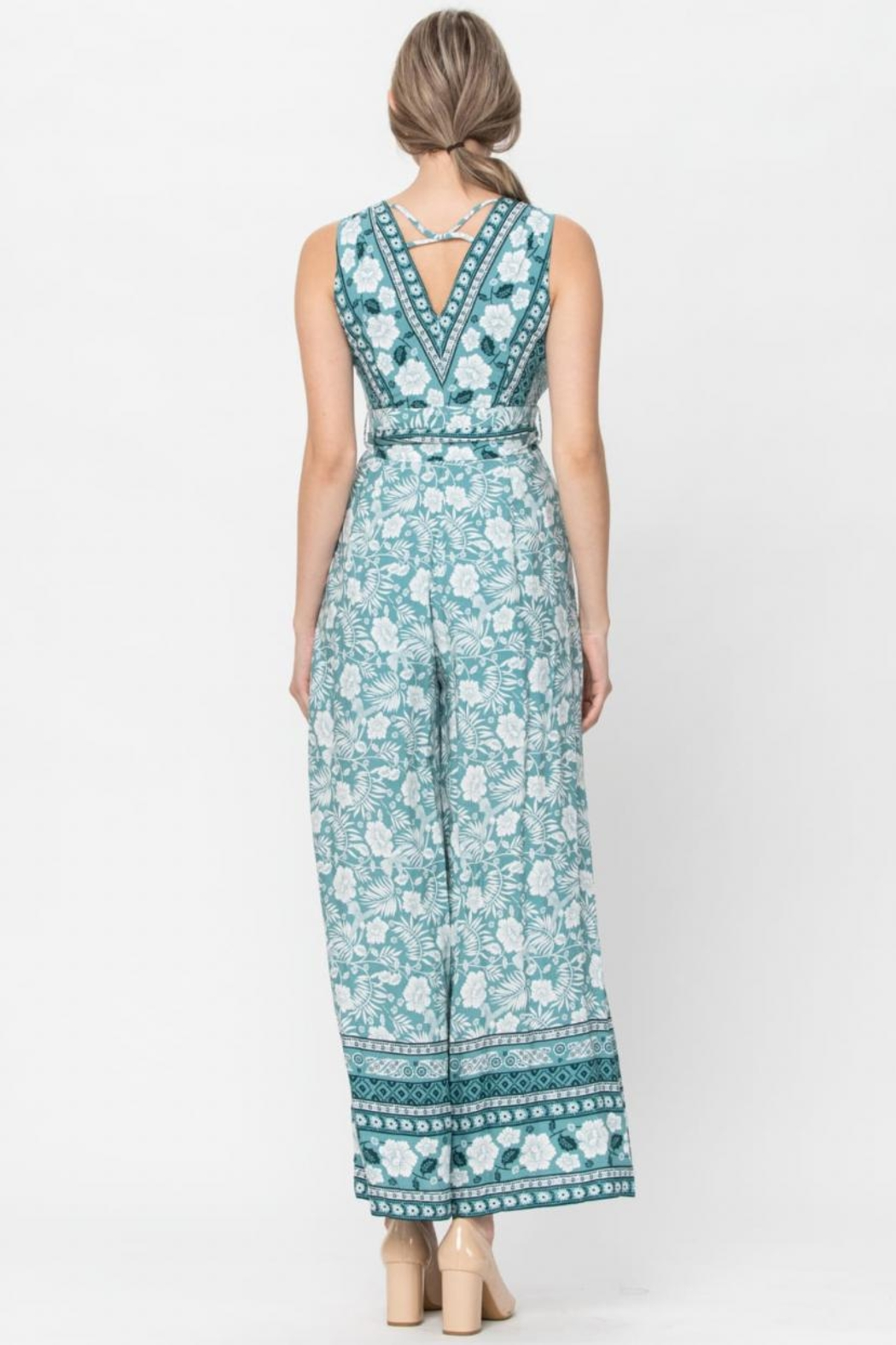 The Clothing Co Belted Floral Jumpsuit - Front Full Image