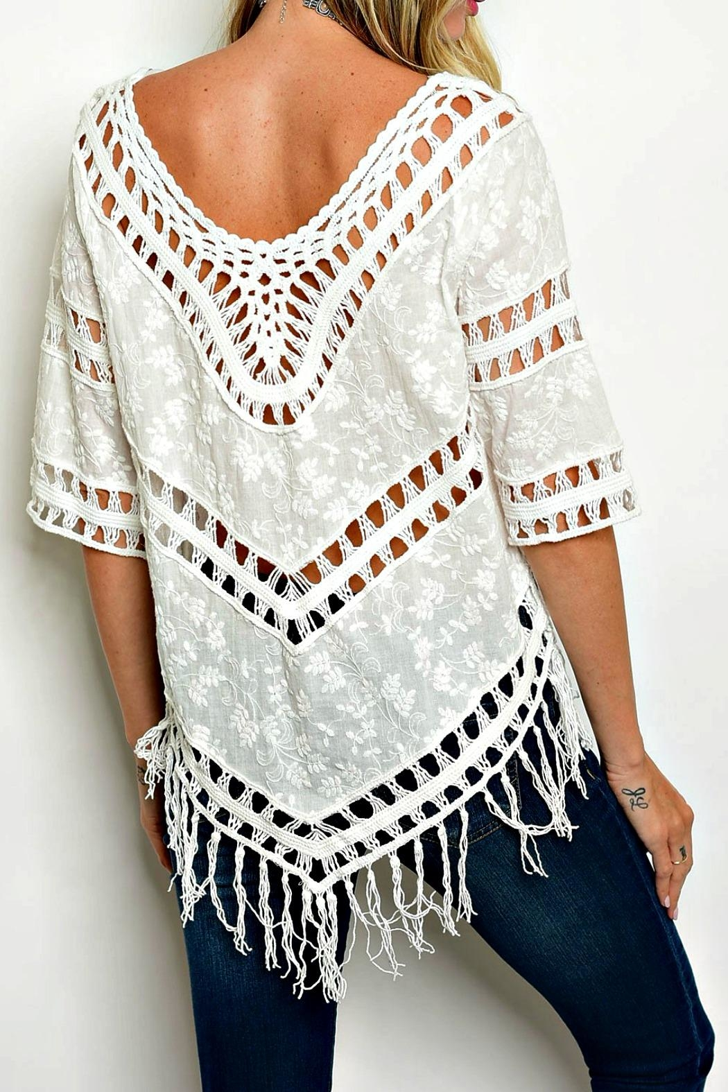 The Clothing Co Crochet Fringe Poncho Top - Front Full Image