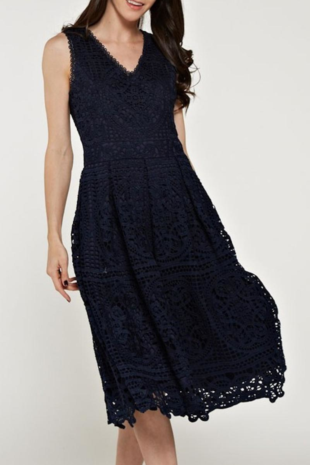 The Clothing Co Crochet/lace Navy Dress - Main Image