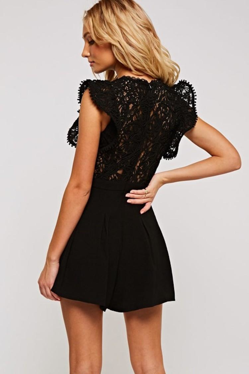 The Clothing Co Crochet Lace Romper - Back Cropped Image