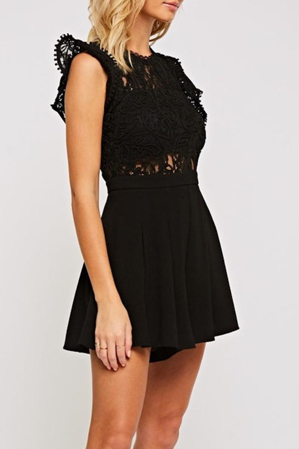 The Clothing Co Crochet Lace Romper - Front Full Image