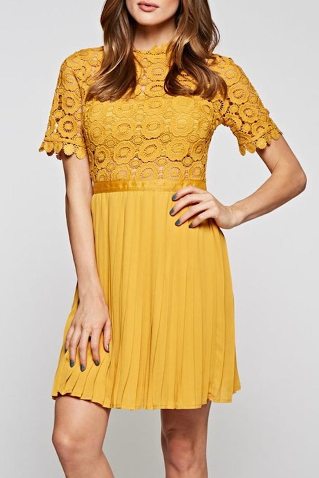 The Clothing Co Gorgeous Mustard Dress - Front Full Image