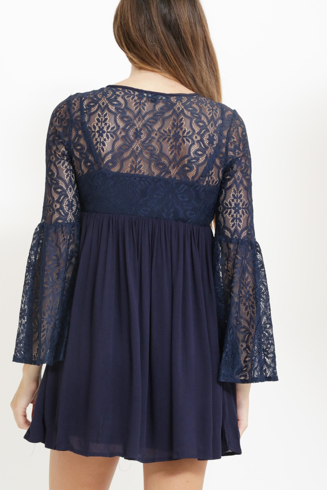 The Clothing Co Lacey Bell Sleeve Dress - Side Cropped Image