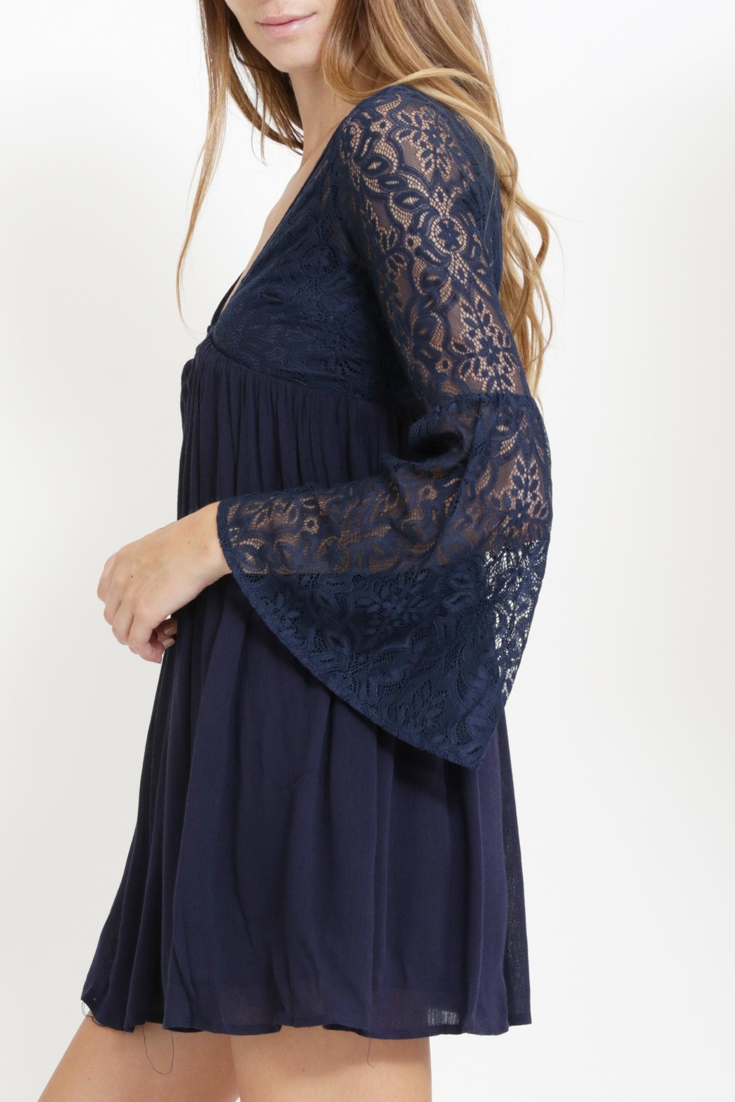The Clothing Co Lacey Bell Sleeve Dress - Front Full Image