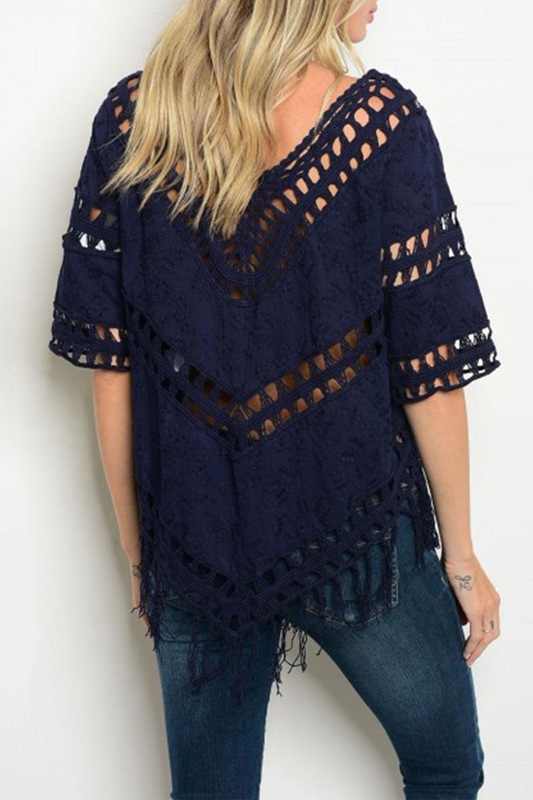 The Clothing Co Navy Crochet Top - Front Full Image