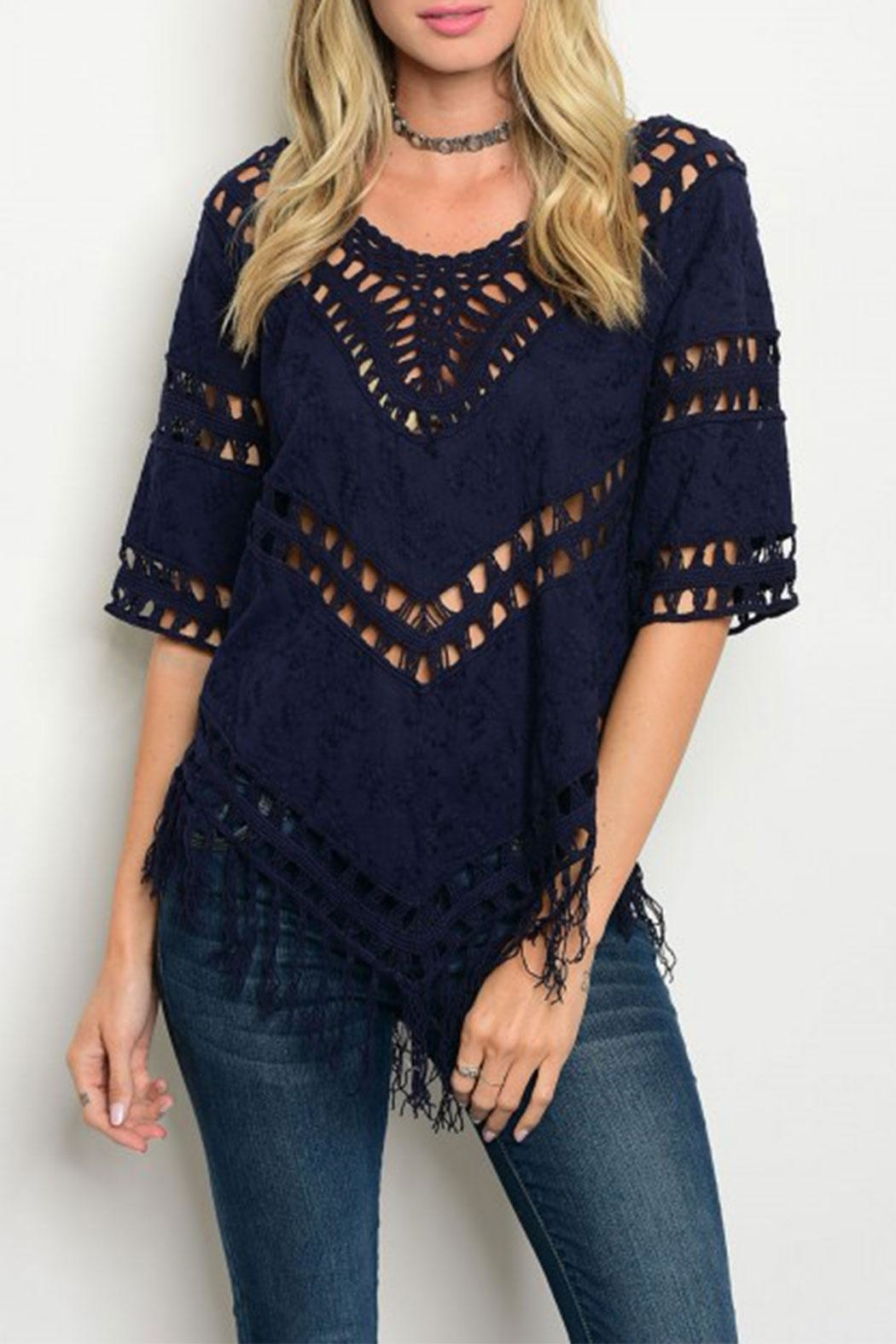The Clothing Co Navy Crochet Top - Main Image