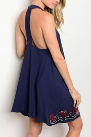 The Clothing Co Navy Embroidered Dress - Front full body