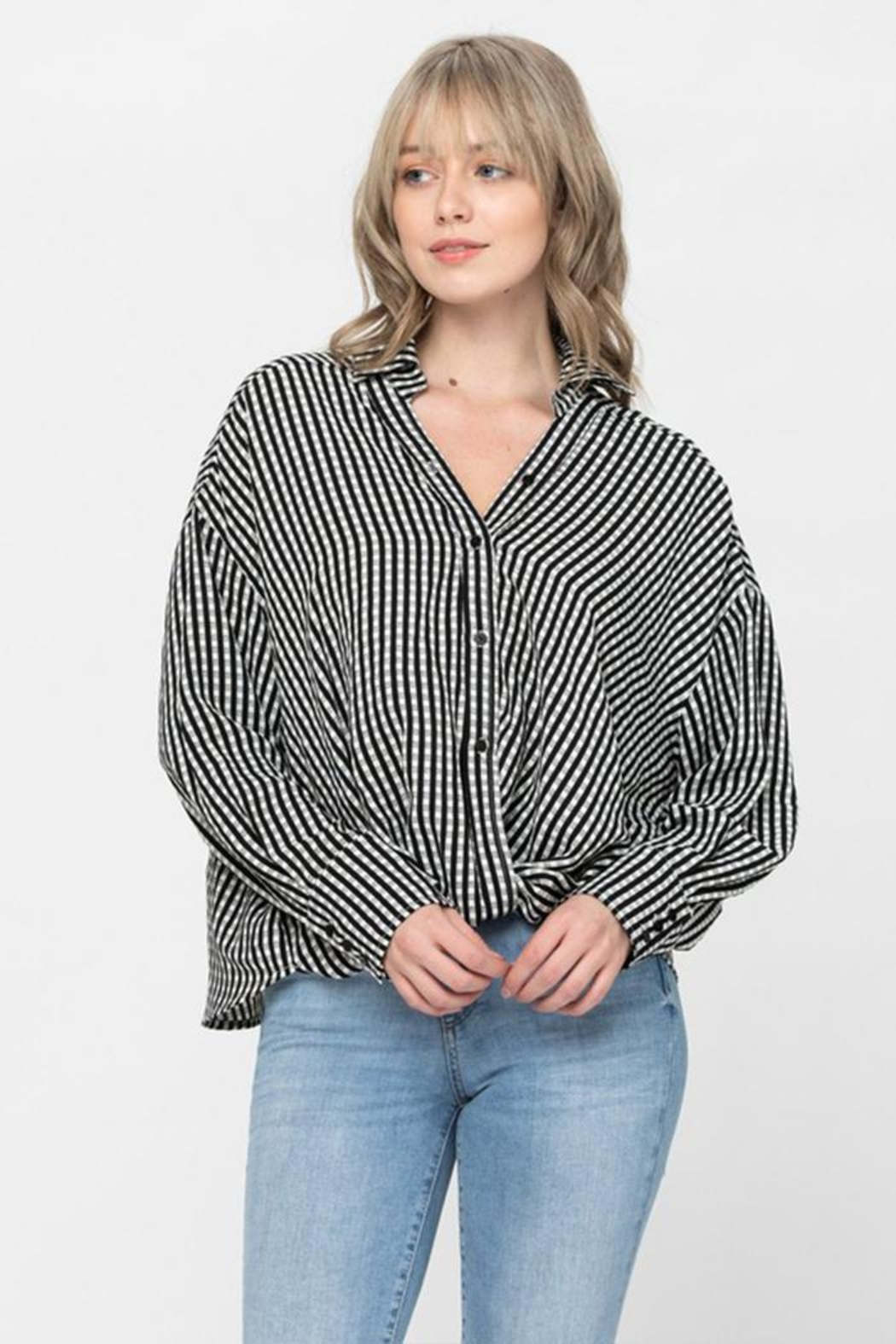 The Clothing Co Oversized Button Shirt - Front Full Image