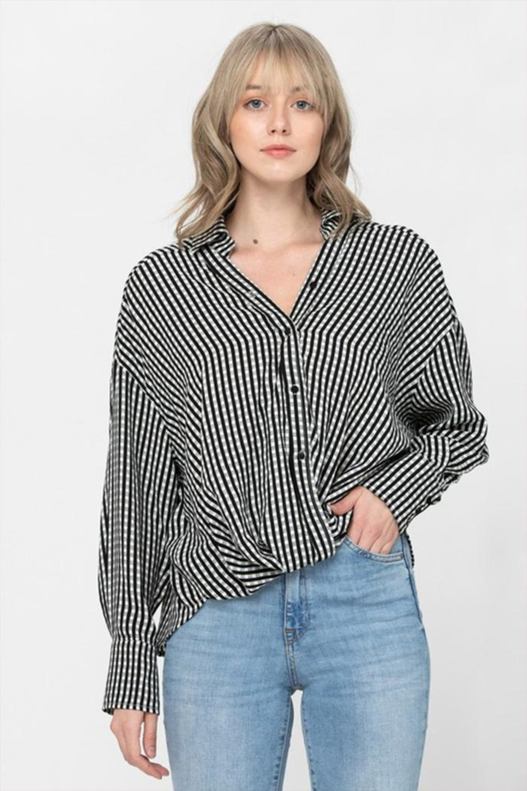 The Clothing Co Oversized Button Shirt - Front Cropped Image