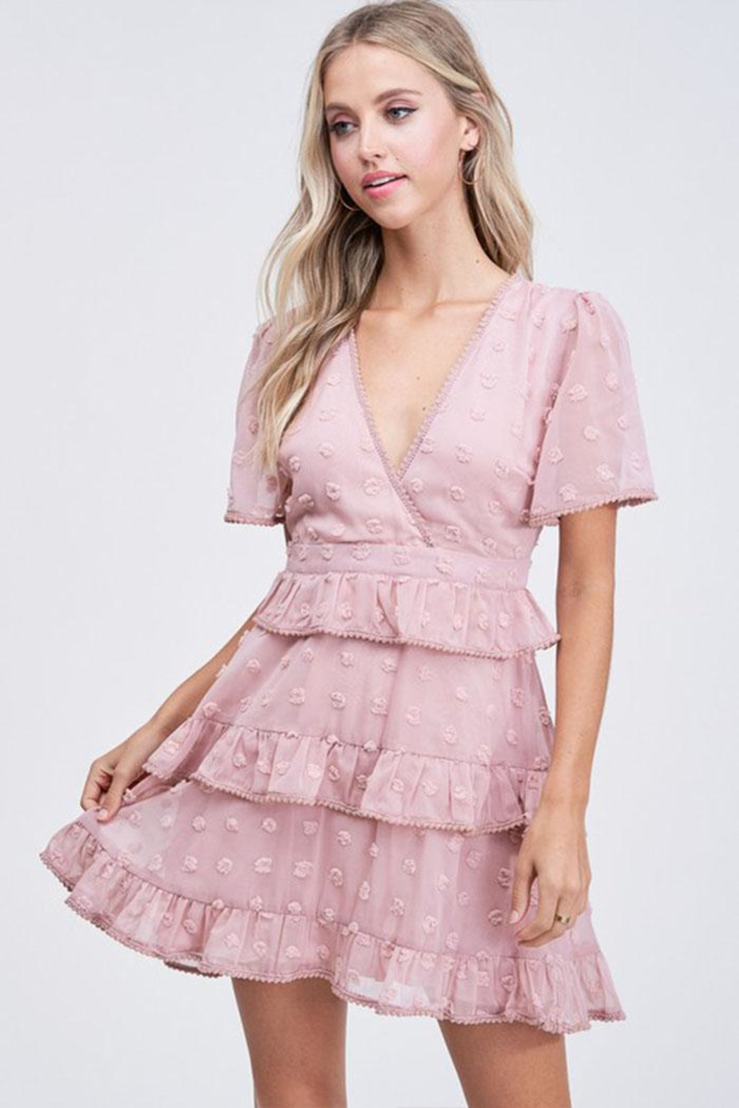 The Clothing Co Ruffle Dot Dress - Side Cropped Image