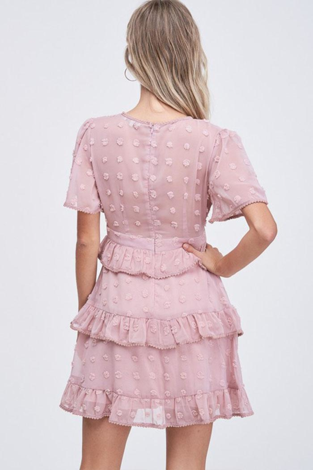 The Clothing Co Ruffle Dot Dress - Back Cropped Image