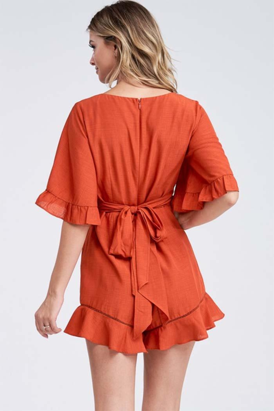 The Clothing Co Solid Wrapped Romper - Side Cropped Image