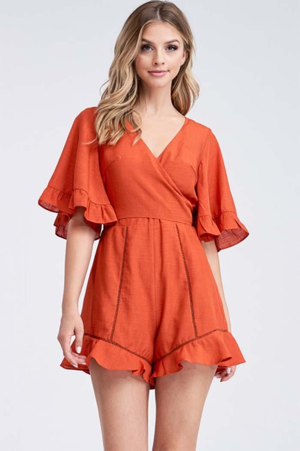 The Clothing Co Solid Wrapped Romper - Main Image