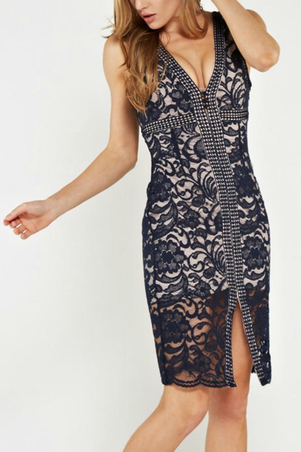 the clothing company Lace Midi Dress - Side Cropped Image