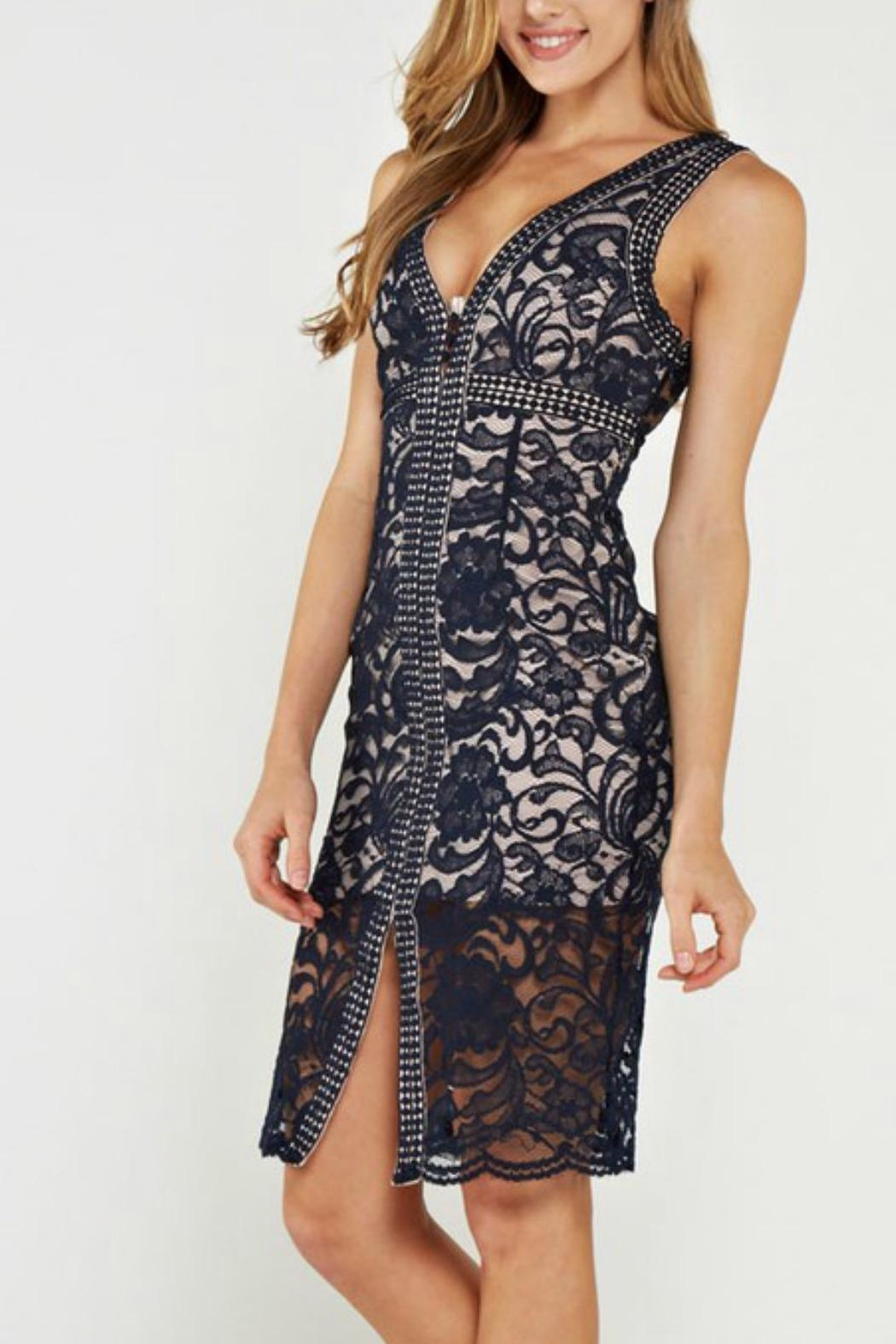 the clothing company Lace Midi Dress - Front Cropped Image