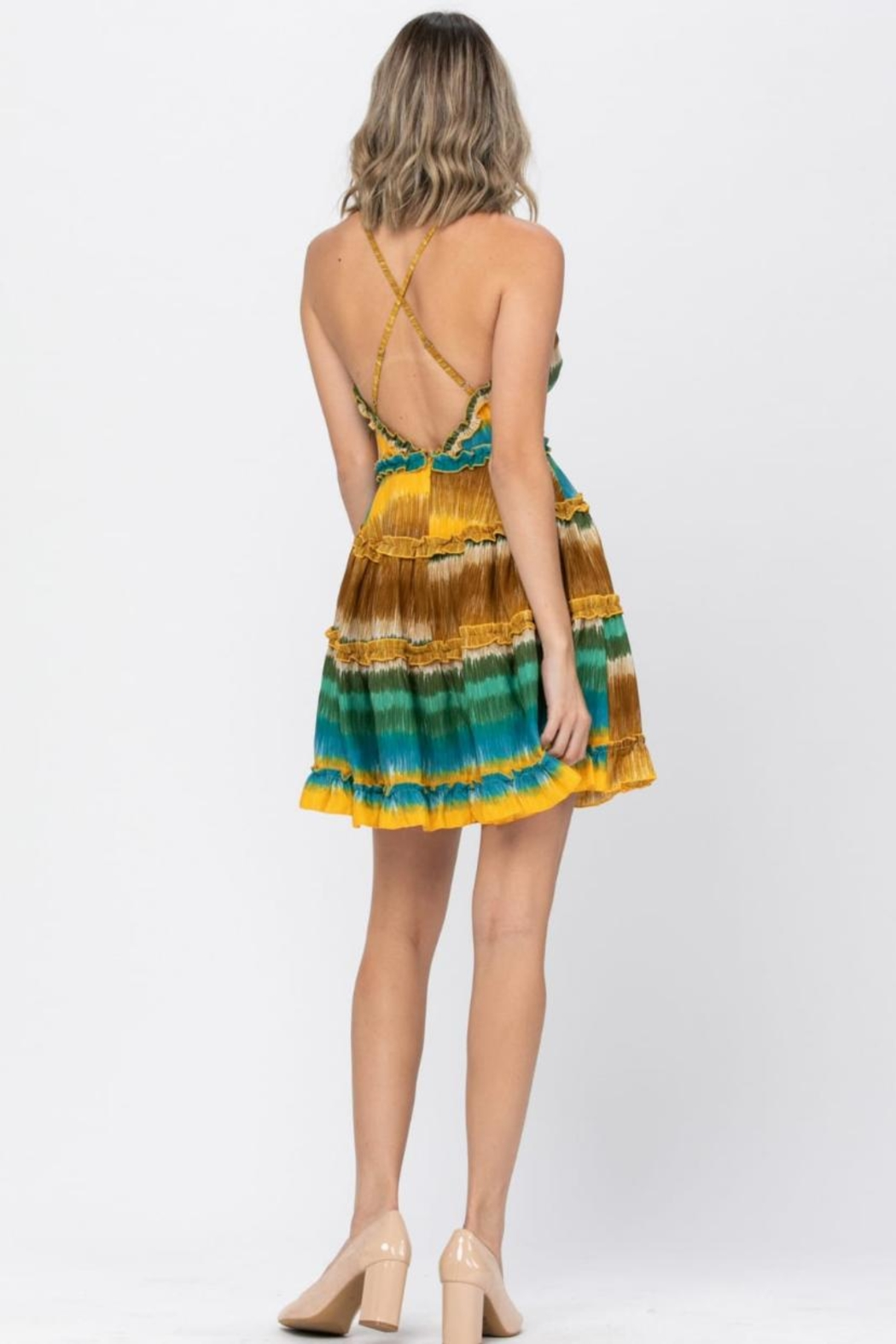 the clothing company Multicolored Mini Dress - Front Full Image