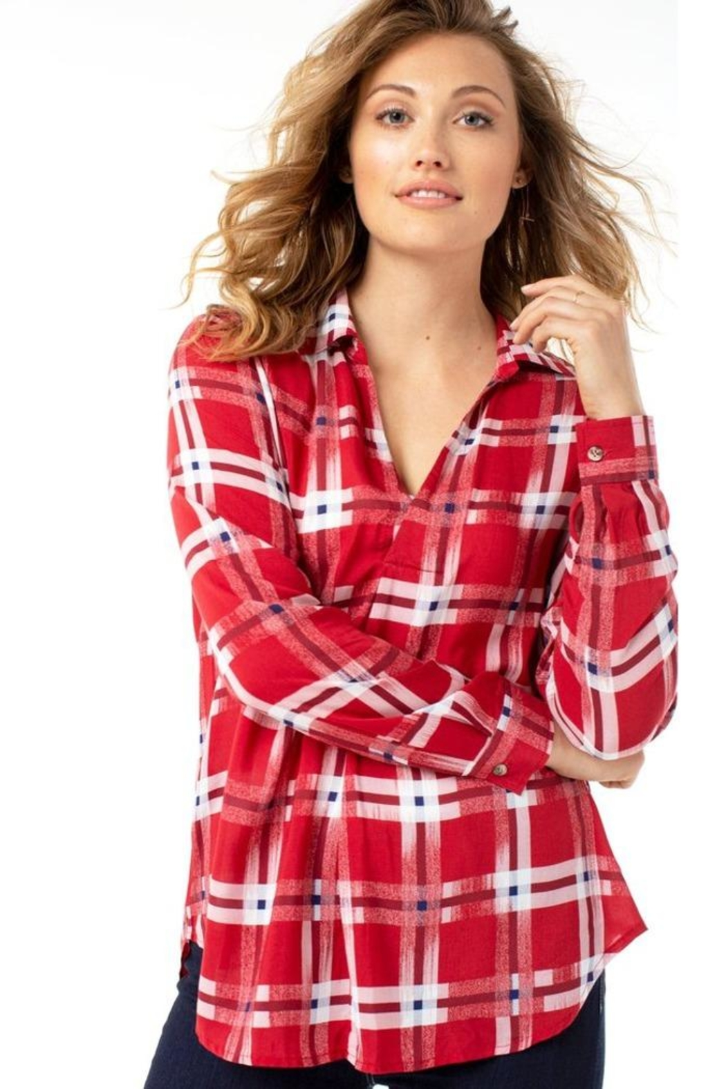 The Dressing Room Abstract Red Plaid - Back Cropped Image