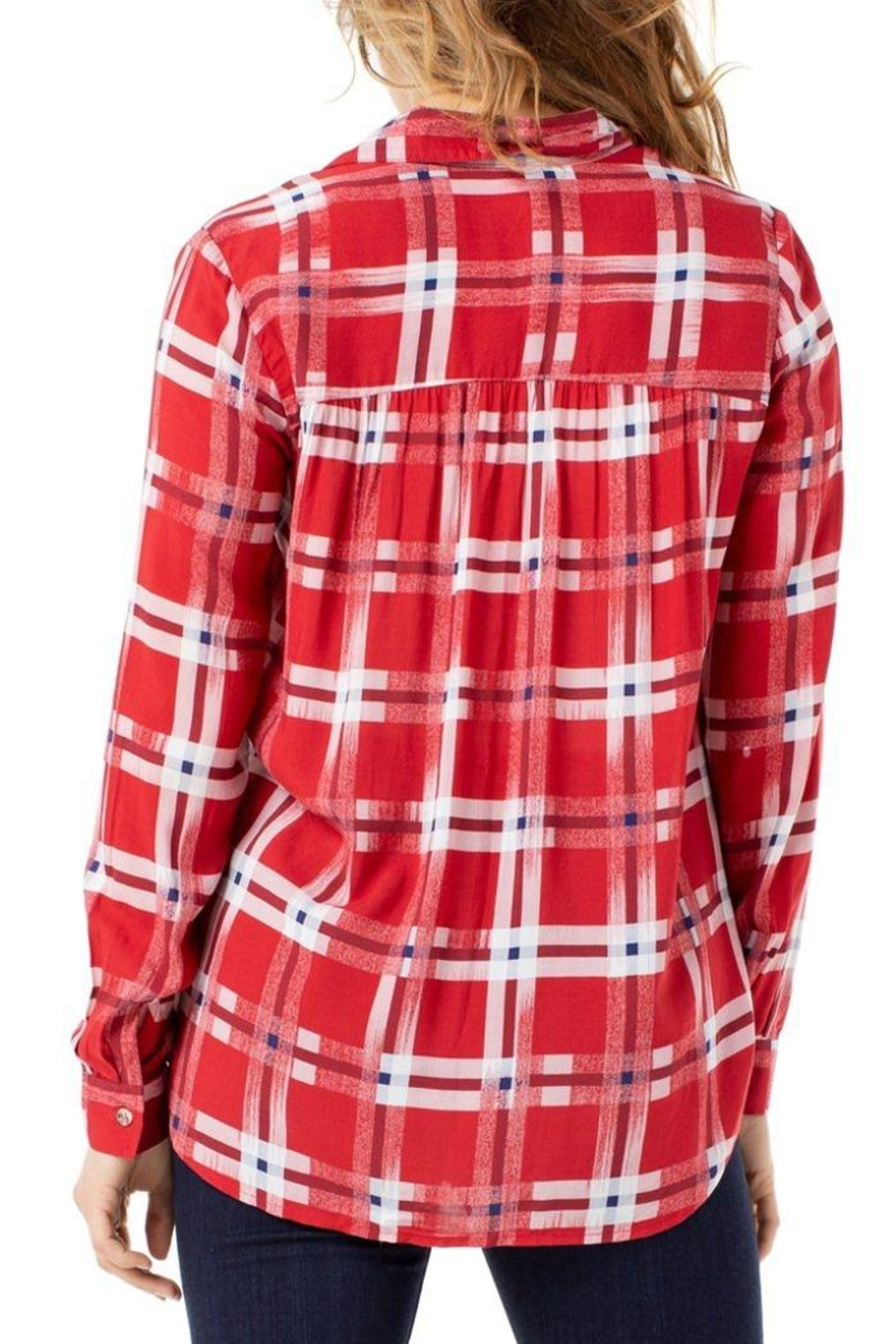 The Dressing Room Abstract Red Plaid - Side Cropped Image