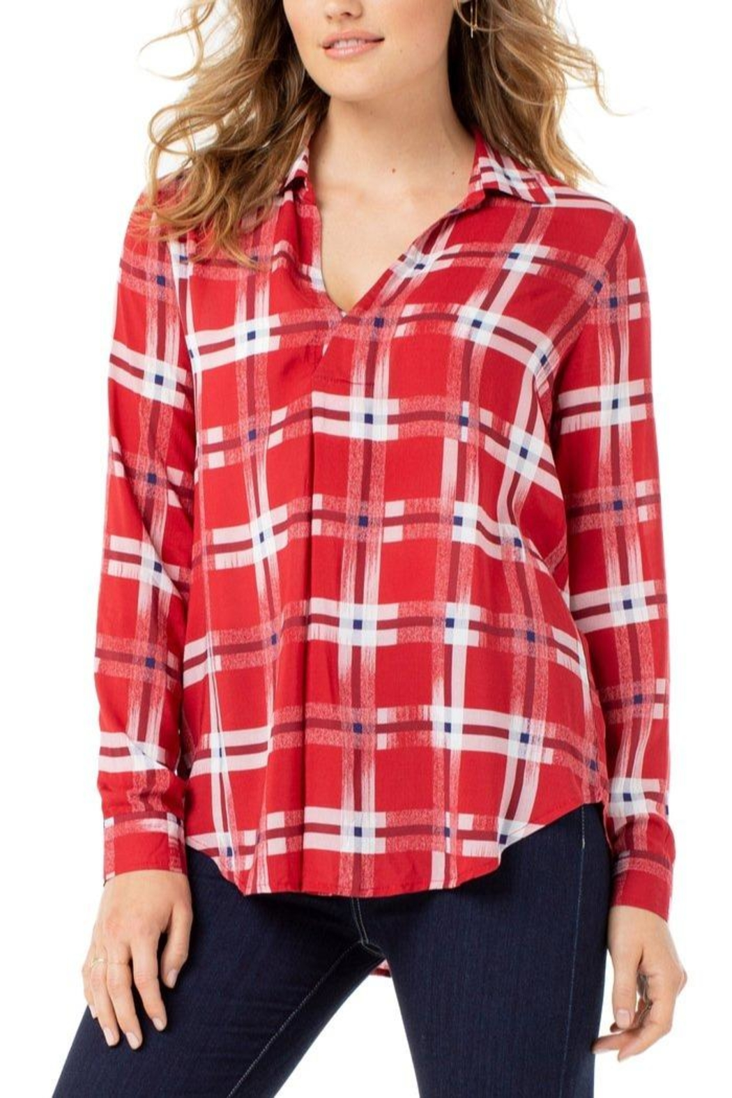The Dressing Room Abstract Red Plaid - Main Image