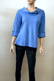 The Dressing Room Blue Cowl Neck - Back cropped