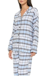 The Dressing Room Blue Plaid Flannel - Front full body
