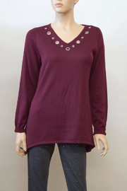 The Dressing Room Burgundy Grommet Top - Product Mini Image