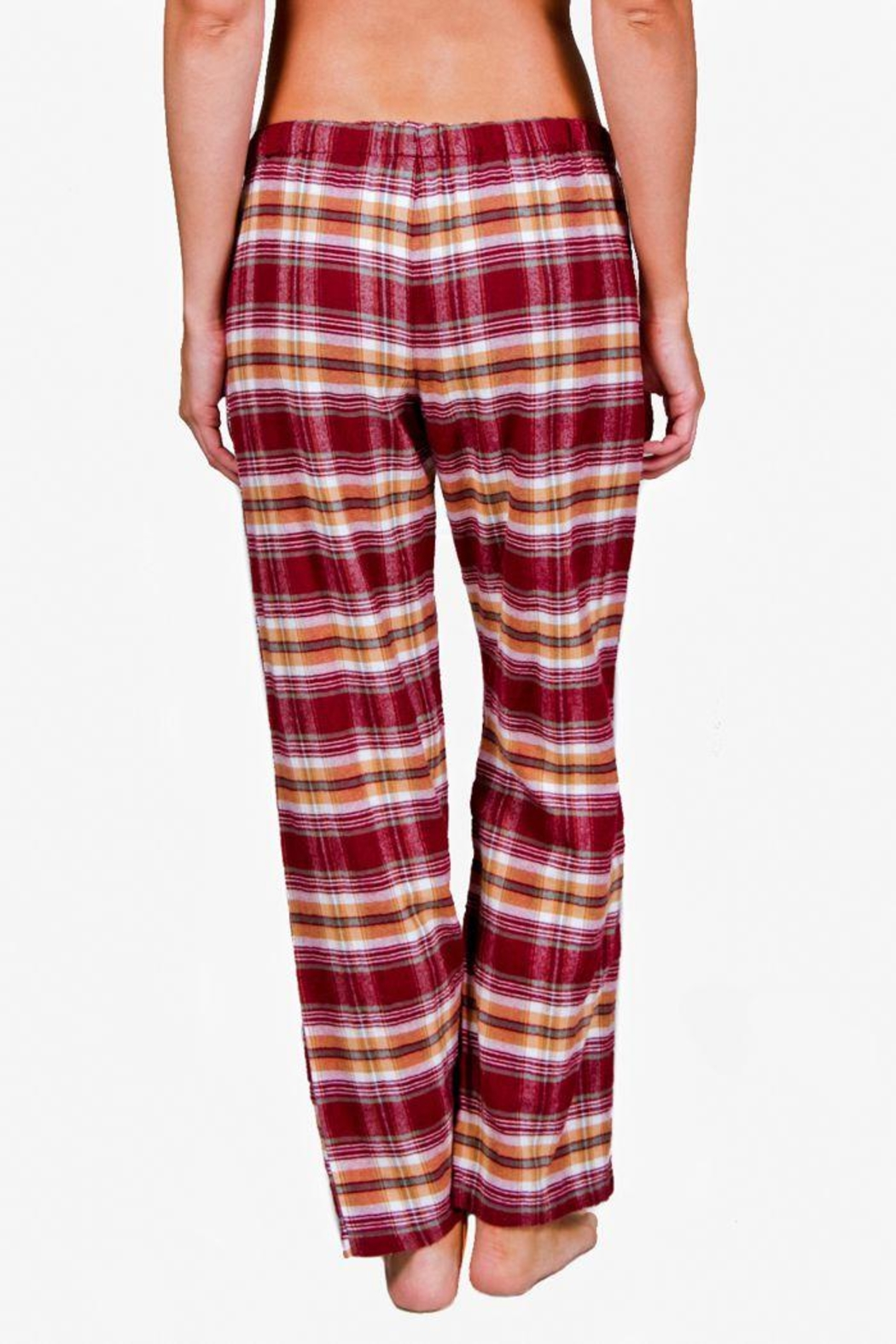The Dressing Room Burgundy Plaid Pant - Side Cropped Image