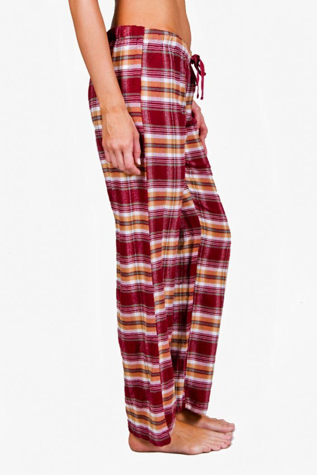 The Dressing Room Burgundy Plaid Pant - Front Full Image