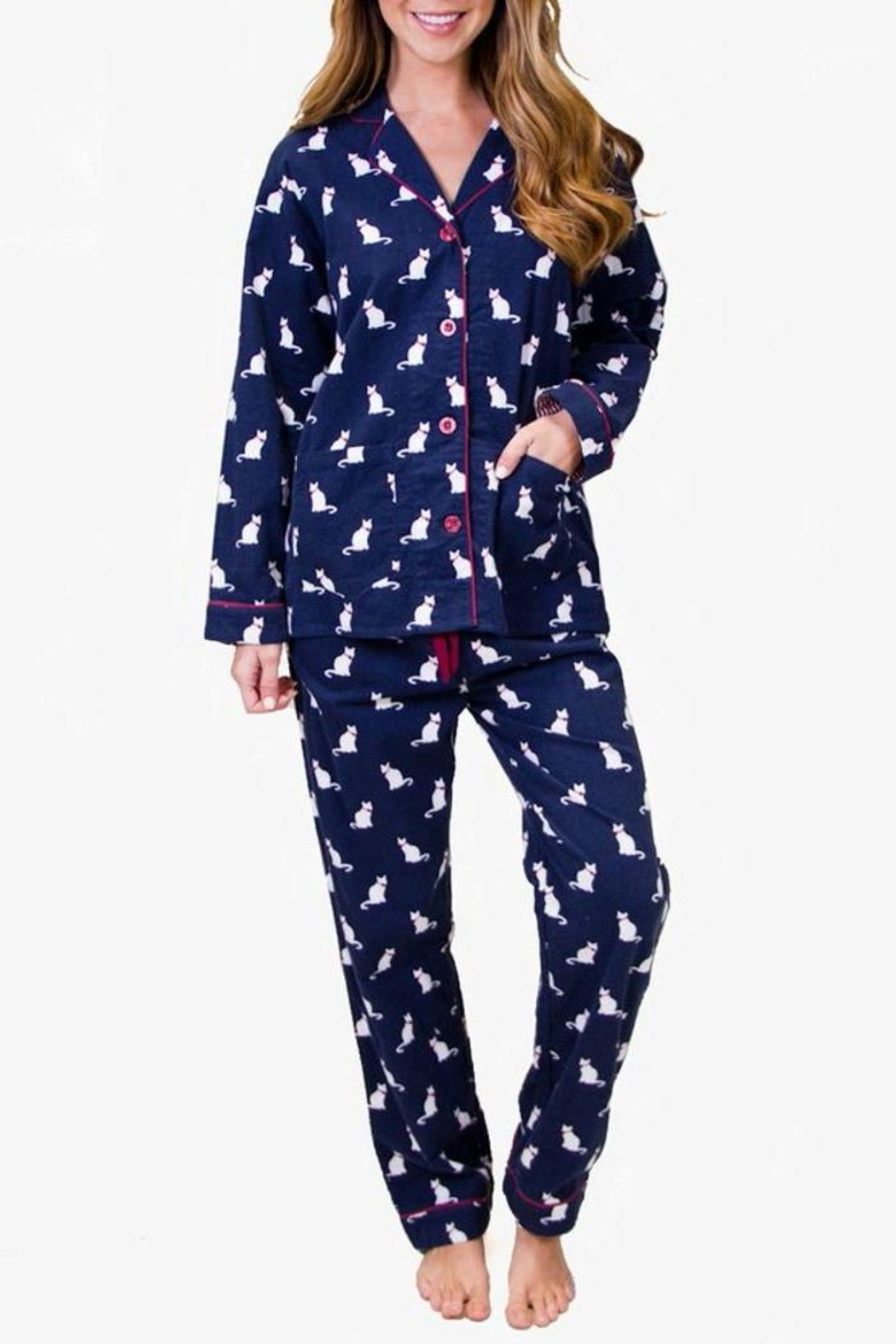 The Dressing Room Cat Print Flannel - Main Image