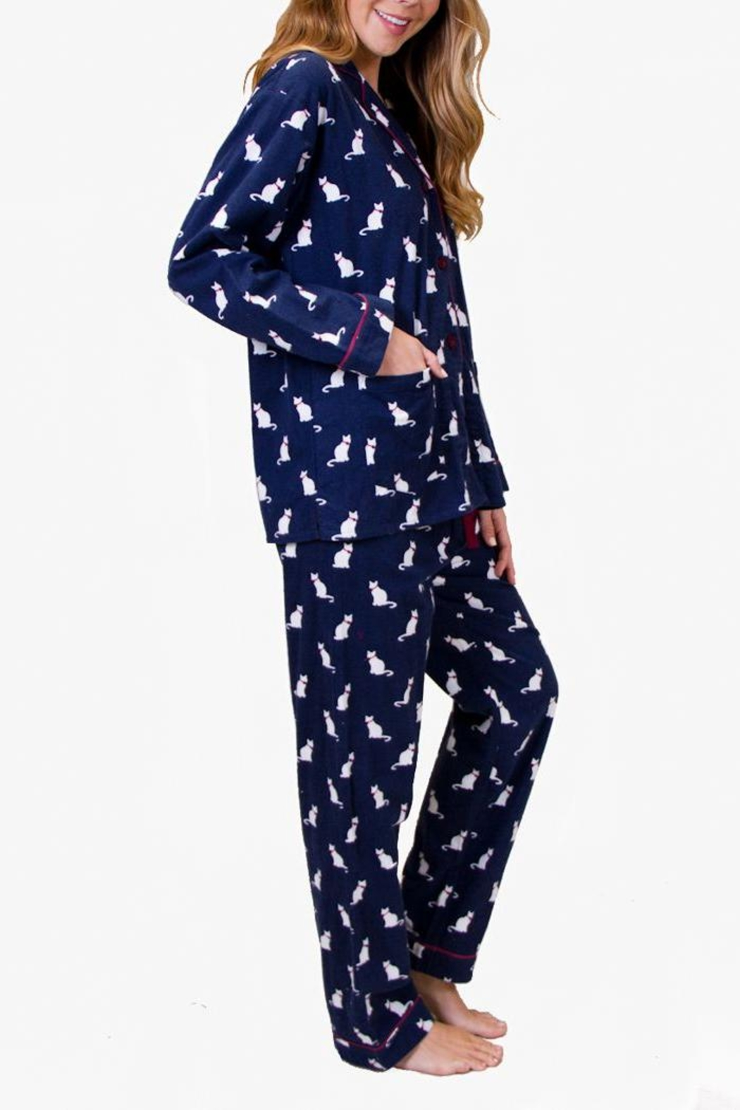 The Dressing Room Cat Print Flannel - Front Full Image