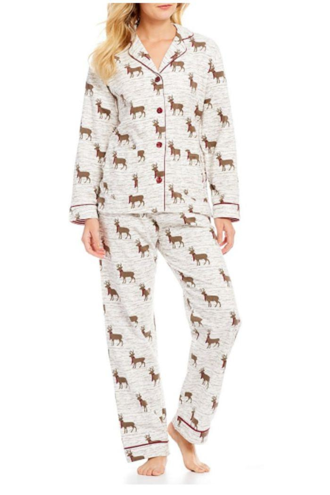 The Dressing Room Deer Print Flannel - Front Cropped Image