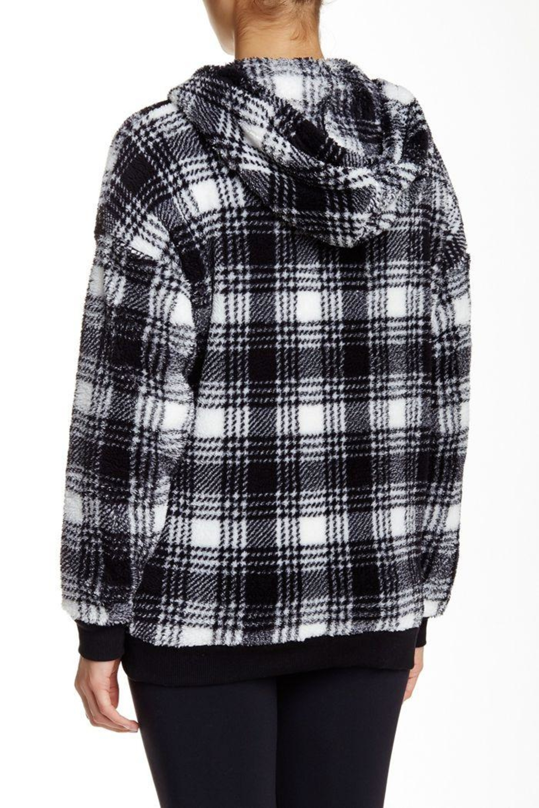 The Dressing Room Fleece Plaid Hoodie - Front Full Image