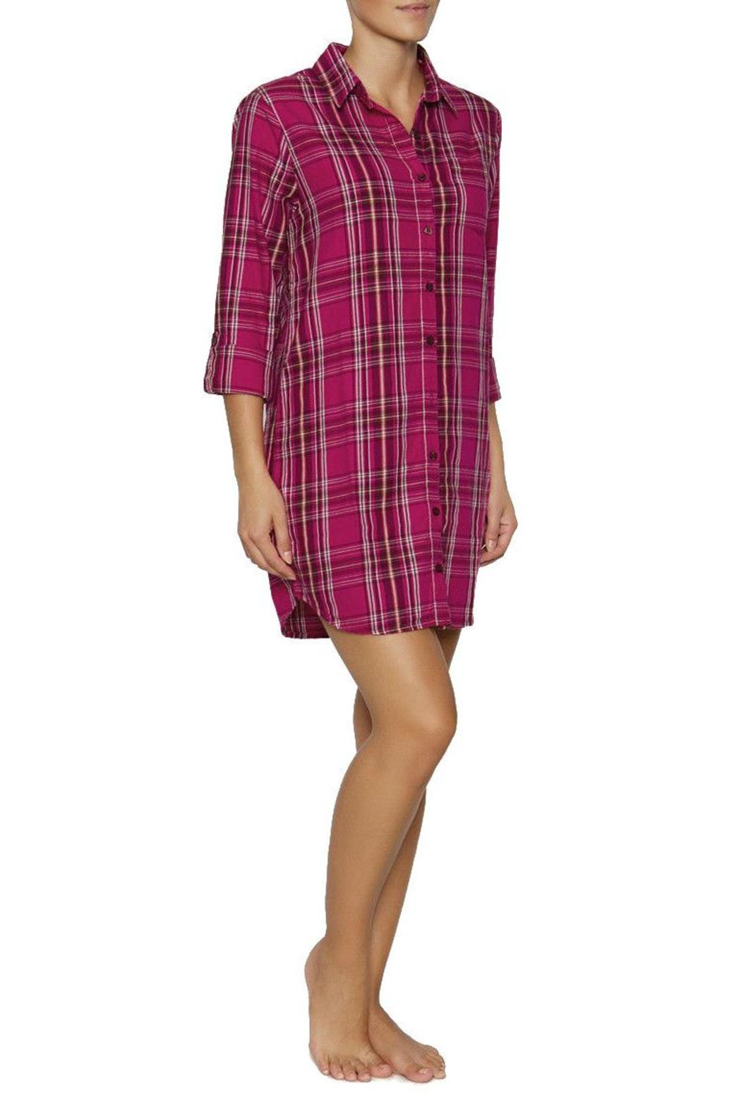 The Dressing Room Fuchsia Plaid Nightshirt - Front Cropped Image