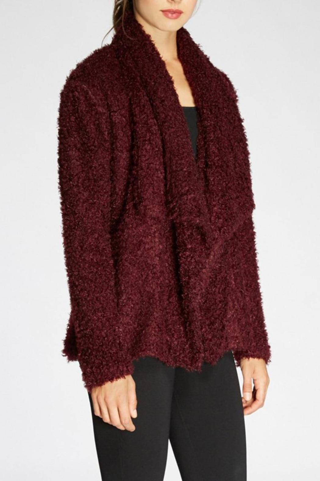 The Dressing Room Fuzzy Burgundy Jacket - Front Full Image