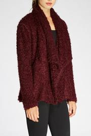 The Dressing Room Fuzzy Burgundy Jacket - Front full body