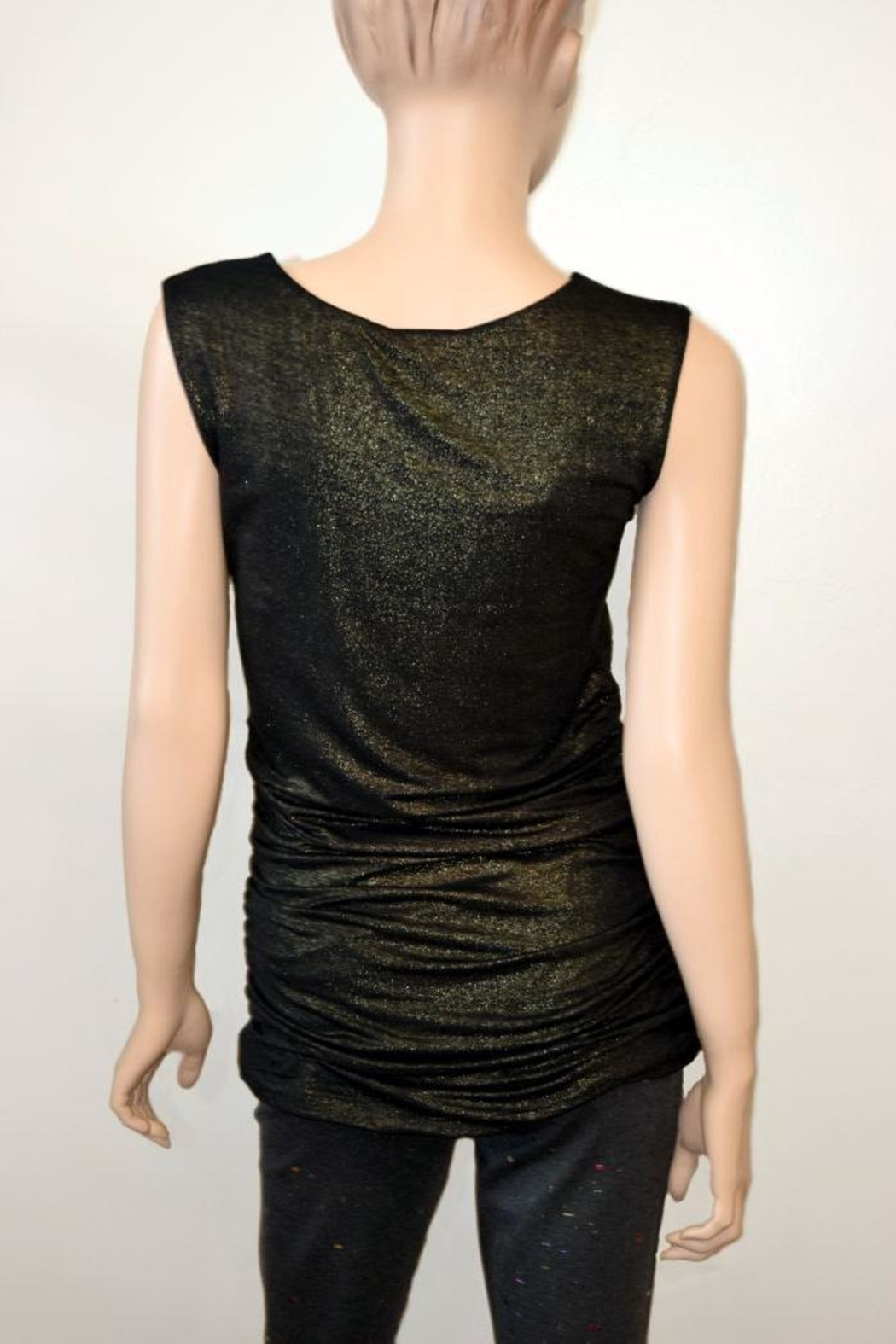The Dressing Room Gold Rouched Top - Front Full Image