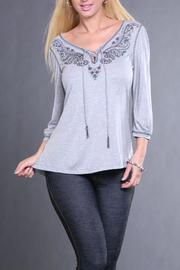 The Dressing Room Gray Beaded Top - Product Mini Image