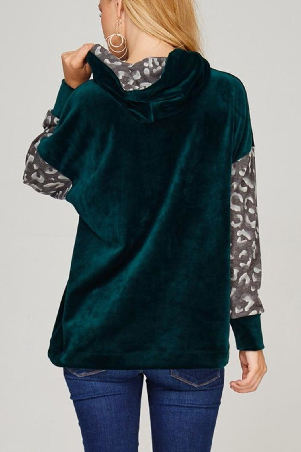 The Dressing Room Green Velour Hoodie - Back Cropped Image