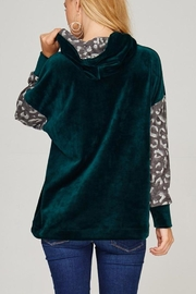 The Dressing Room Green Velour Hoodie - Back cropped