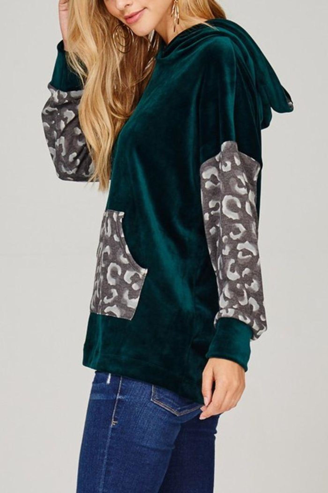 The Dressing Room Green Velour Hoodie - Side Cropped Image