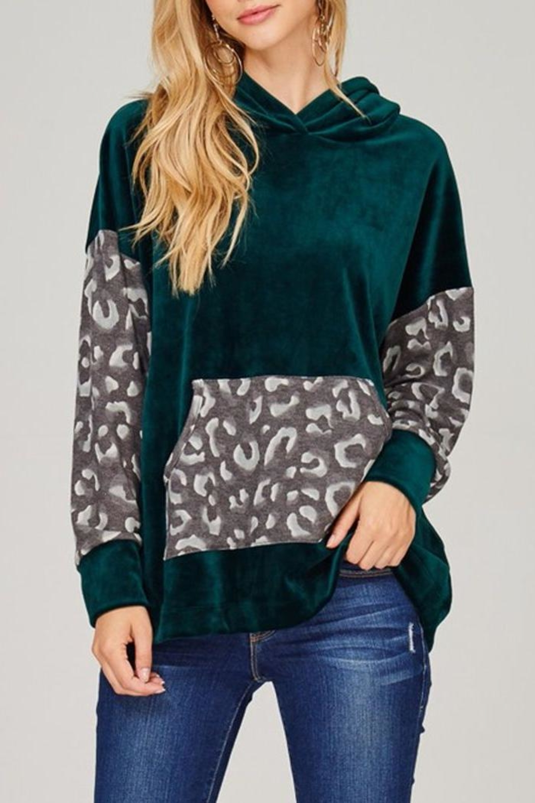 The Dressing Room Green Velour Hoodie - Main Image