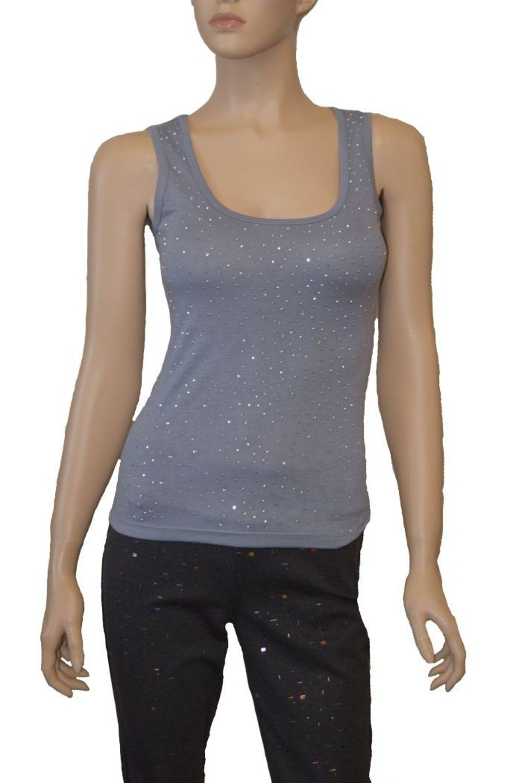 The Dressing Room Grey Rhinestone Tank - Front Cropped Image
