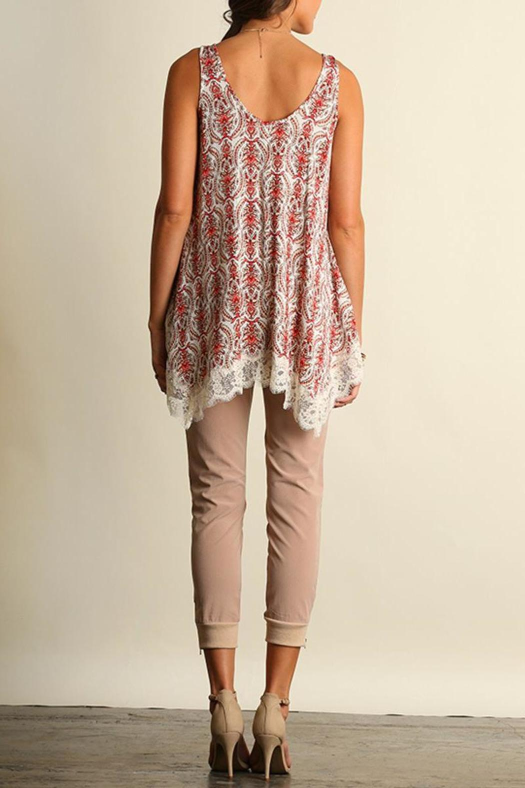 The Dressing Room Lace Coral Top - Front Full Image